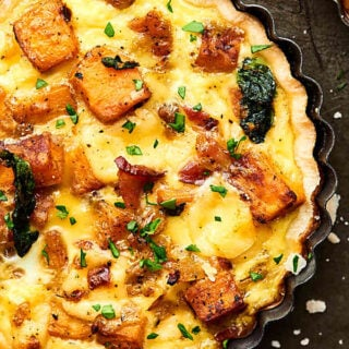 #ad An Easy Cheesy Bacon Breakfast Tart Recipe full of crispy bacon, smoky gouda, and creamy sweet potatoes! Made ultra easy with store bought pie dough! Recipe made in partnership w/ @jonesdairyfarm #JonesFamilyRules