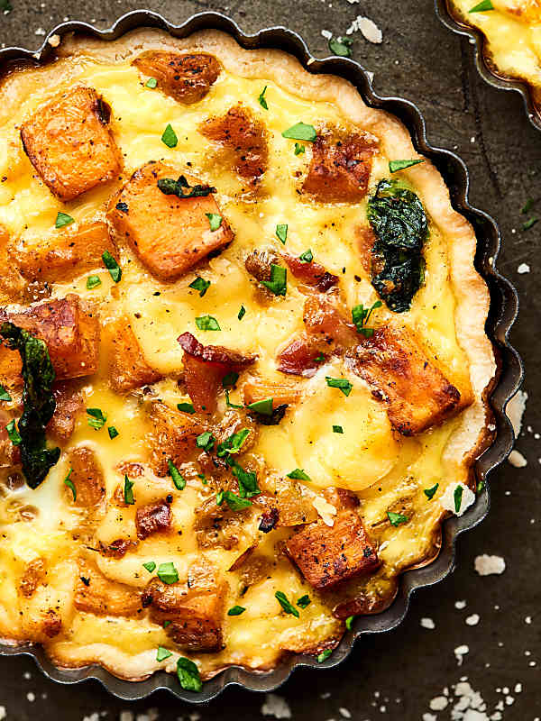 easy cheesy breakfast tart above