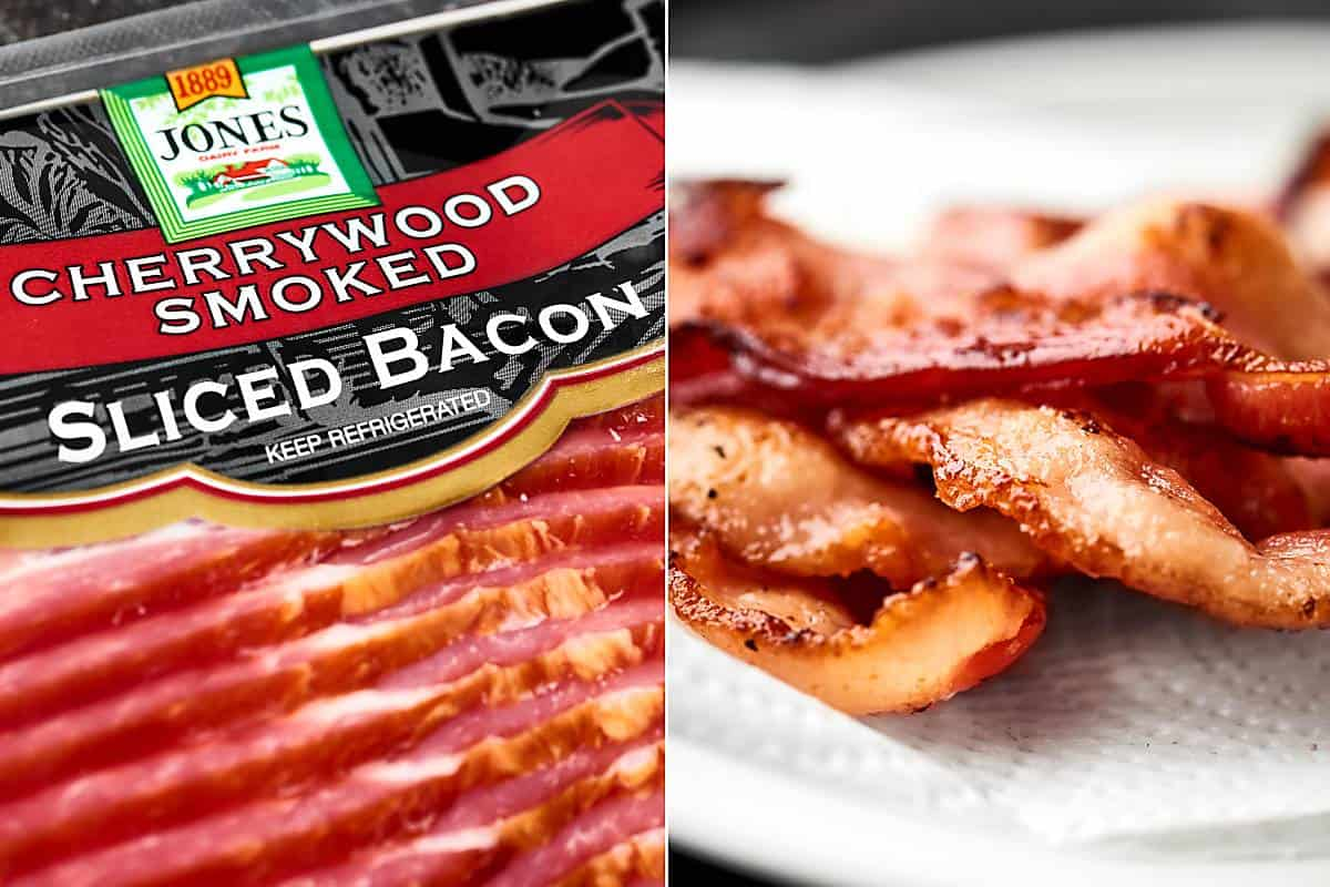 two pictures: bacon package and cooked bacon