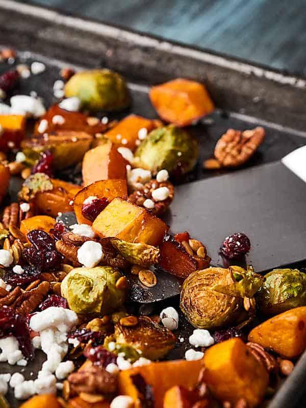 roasted veggies on baking sheet