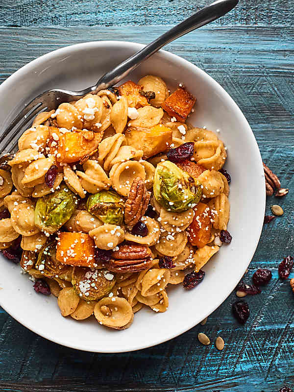 bowl of roasted fall vegetable pasta above