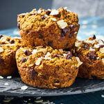 #ad These Skinny Pumpkin Muffins are only 130 calories, gluten free, vegan, and full of oats, pumpkin, loads of spices, and chocolate chips! showmetheyummy.com Made in partnership w/ @bobsredmill #pumpkinmuffins #healthy