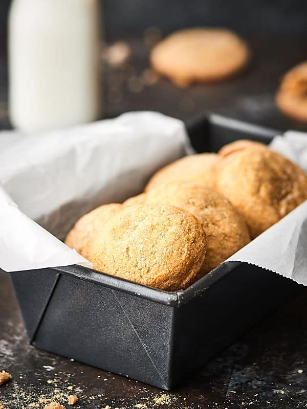 loaf pan full of cookies