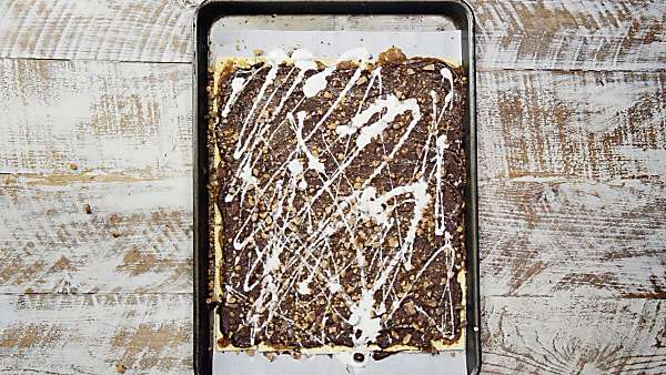 white chocolate and toffee layered on christmas crack