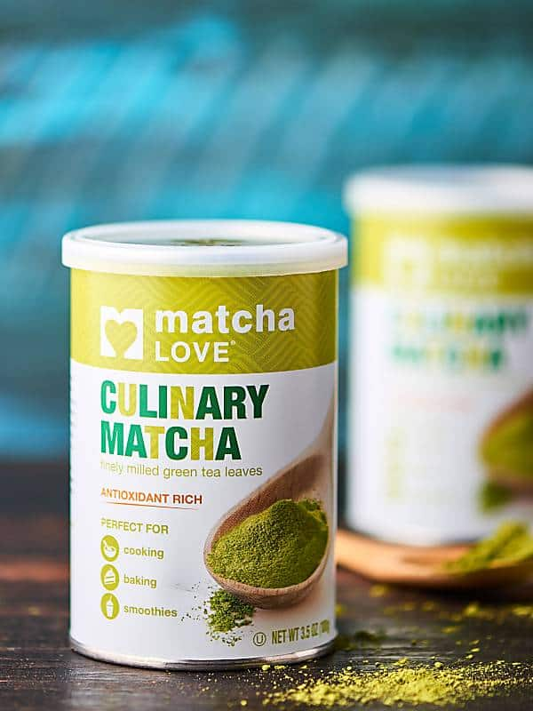 container of matcha powder