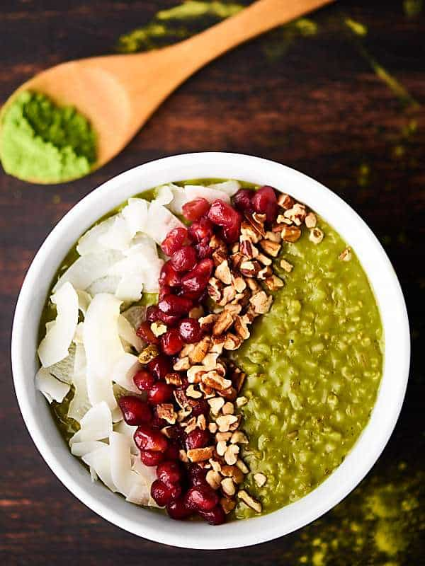 bowl of crockpot matcha oatmeal above
