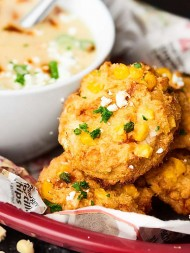 ad Baked Corn Crab Cakes paired with a Three Cheese Chipotle Potato ...
