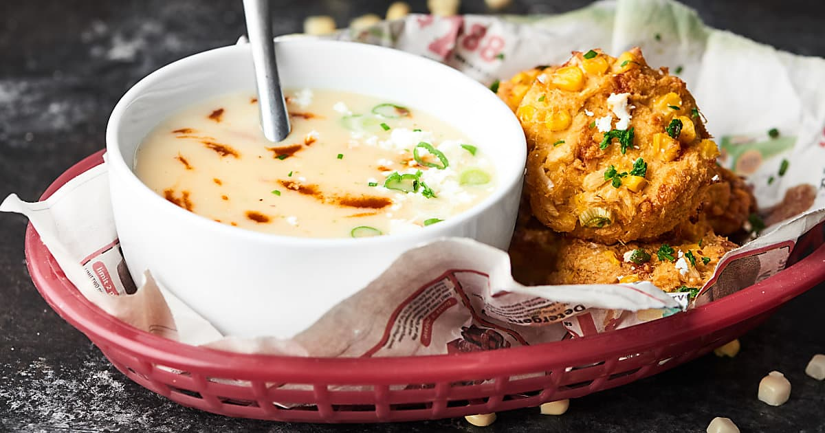 Baked Corn Crab Cakes Recipe - w/ Three Cheese Chipotle Potato Soup
