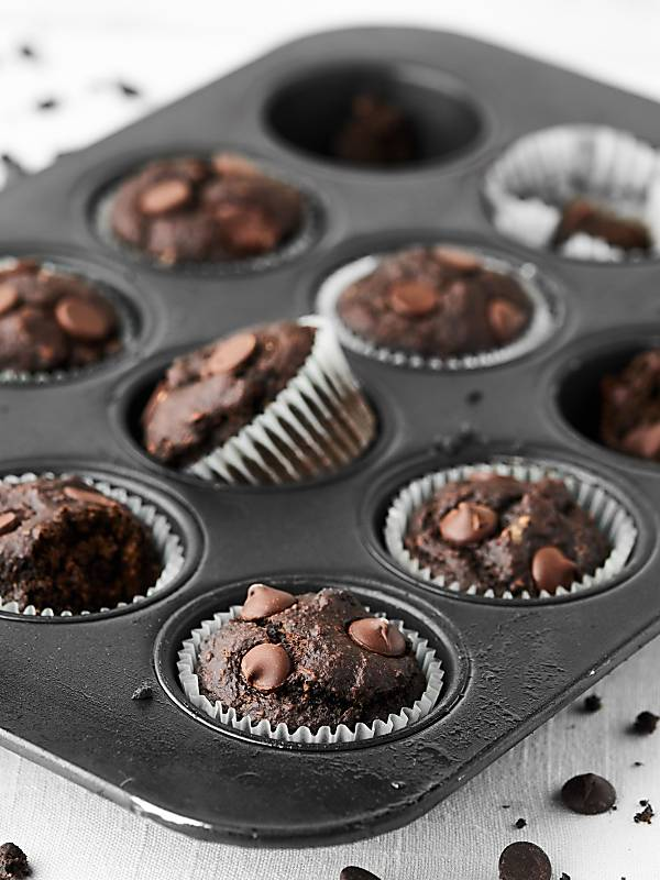 Whole muffin tin with chocolate banana muffins