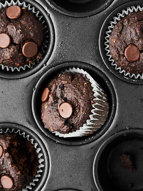 Chocolate banana muffins in muffin tin
