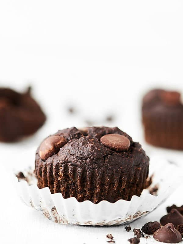 One healthy chocolate banana muffin unwrapped