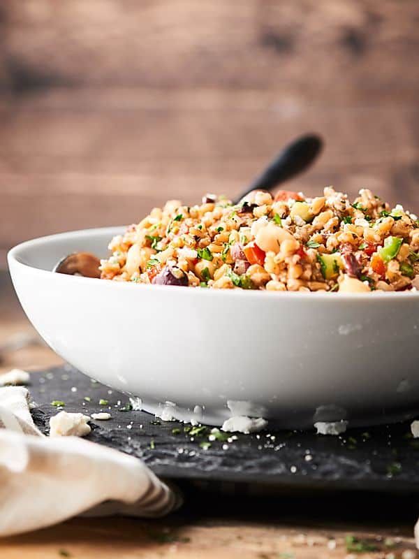 Mediterranean Farro Salad Recipe Healthy Vegan Make Ahead Side
