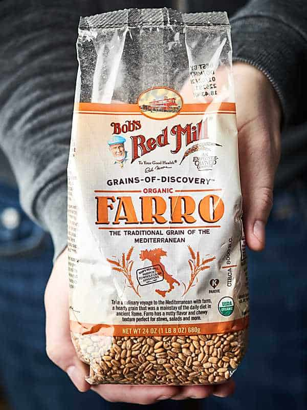Package of Bob's Red Mill farro held