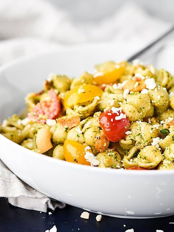 bowl of pesto pasta salad