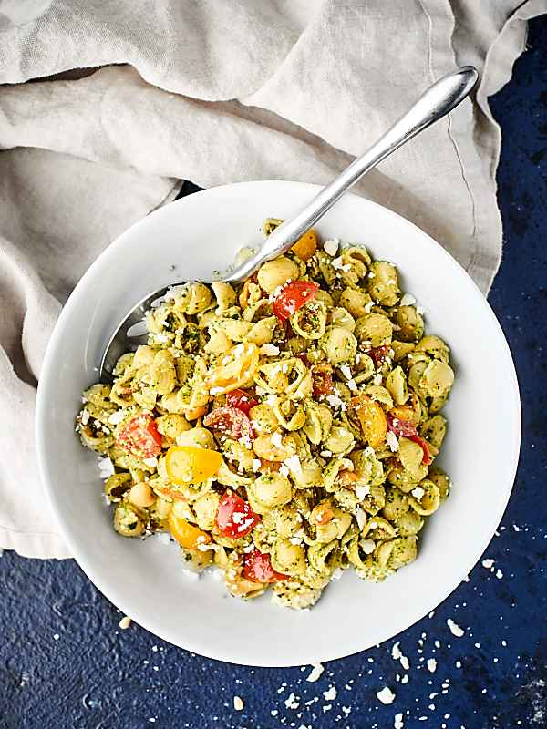 pesto pasta salad above