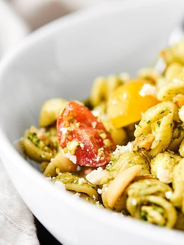 closeup of pesto pasta salad