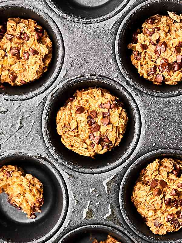 Baked oatmeal muffin cups in muffin tin