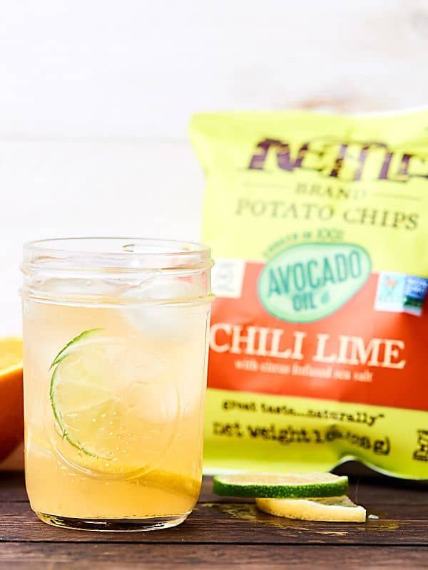 citrus margarita with bag of chili lime kettle chips