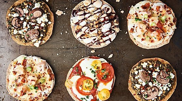 #ad Homemade Individual Pizzas 4 Ways: Margherita, Chicken Bacon Ranch, Mushroom Pesto, and Dessert Pizza (S'Mores Galore!). showmetheyummy.com Made in partnership w/ @OzeryBakery #Ozery #OzeryBakery #OBCreation #FuelYourBody