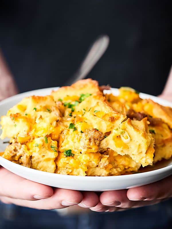 #ad This Waffle Sausage Breakfast Casserole requires minimal prep and is loaded with waffles, sausage, eggs, cheese, and maple syrup! showmetheyummy.com @Krogerco #FreezerFreshIdeas