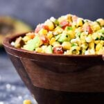This Grilled Corn Salsa Recipe is loaded with fresh summer produce: corn, avocado, tomatoes, and more! Only 9 ingredients necessary! showmetheyummy.com