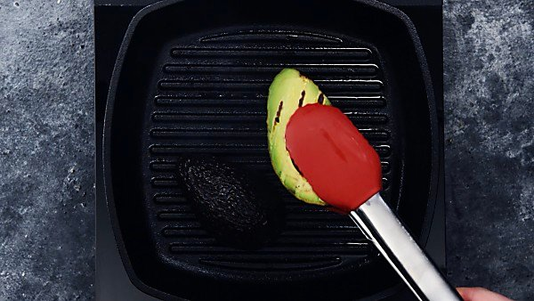 avocado being grilled