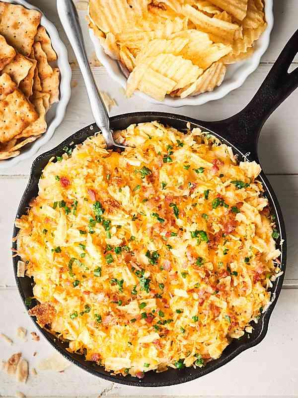 mashed potato chip dip in skillet above