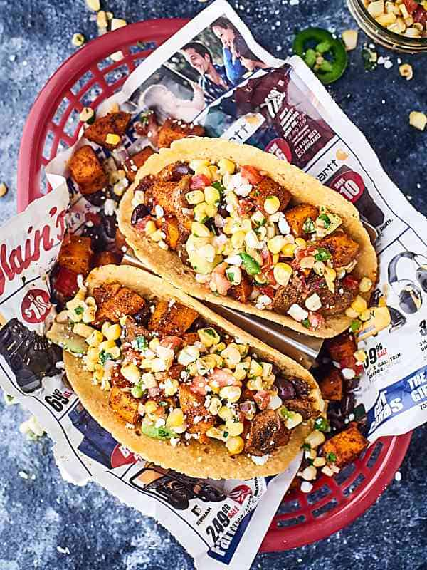 Two sweet potato tacos above