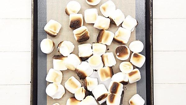 roasted marshmallows on baking sheet