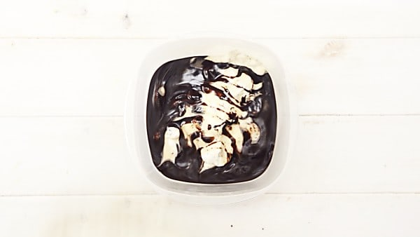 ice cream mixture topped with hot fudge
