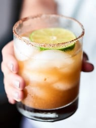 #ad This Tamarind Margarita Recipe is a unique twist on a classic! Full of tamarind paste, lemon juice, lime juice, agave, and tequila and lined with a chili salt rim! showmetheyummy.com Made in partnership w/ @nutsdotcom