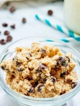 This Edible Cookie Dough Recipe is eggless and safe to eat raw! Theres no flour, we use homemade oat flour instead, & no eggs! Easy edible cookie dough for the win! showmetheyummy.com #cookiedough #dessert #eggless