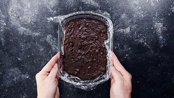 Hardened fudge in baking dish