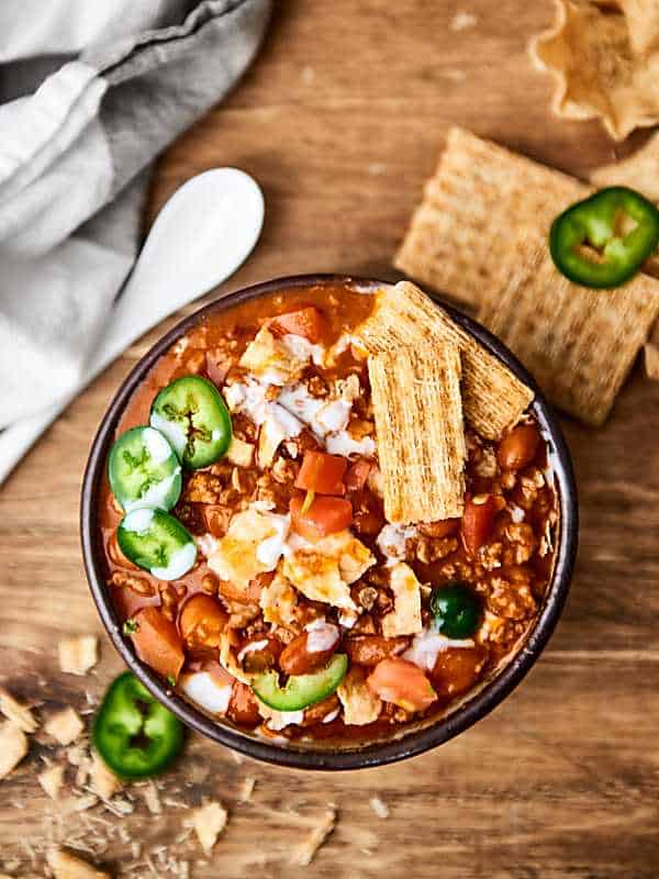 Bowl of easy chili above