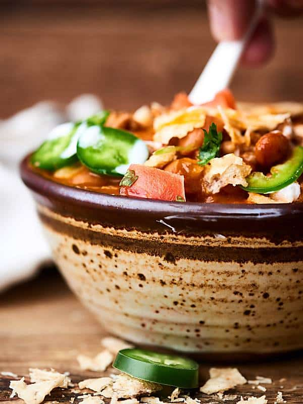 Easy chili recipe in bowl side view
