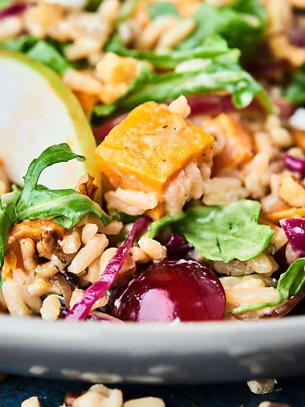 closeup of sweet potato wild rice salad