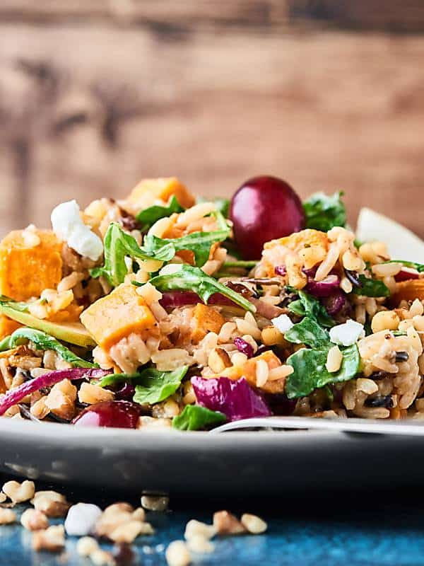 This Roasted Sweet Potato and Wild Rice Salad makes the perfect, healthier, light fall lunch or vegetarian side dish addition to your Thanksgiving menu! showmetheyummy.com