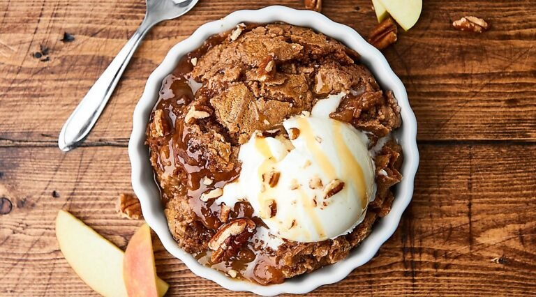 bowl of caramel apple dump cake above