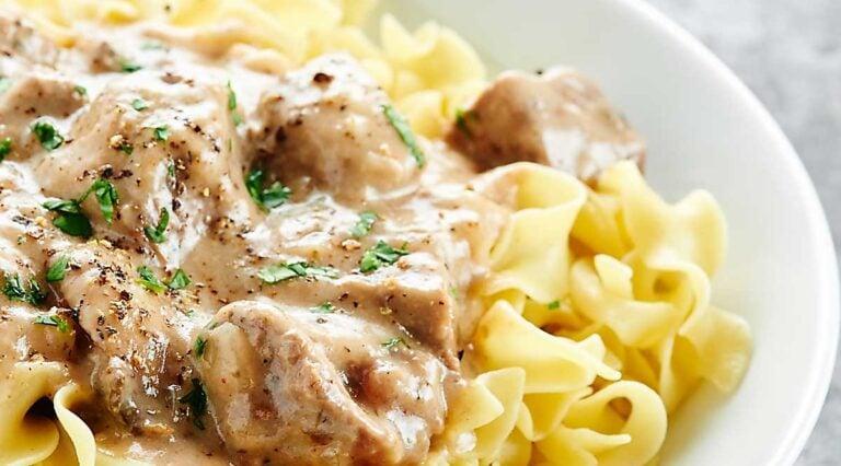 Crock pot beef stroganoff over egg noodles