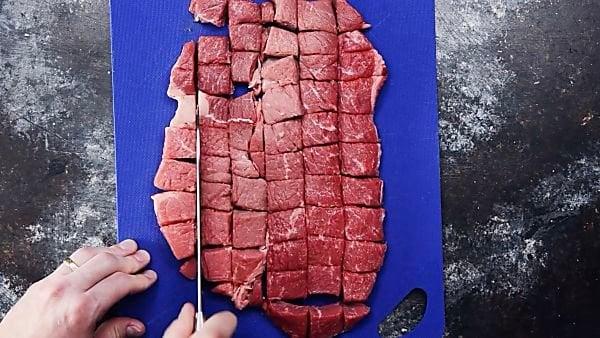 Beef cut into chunks