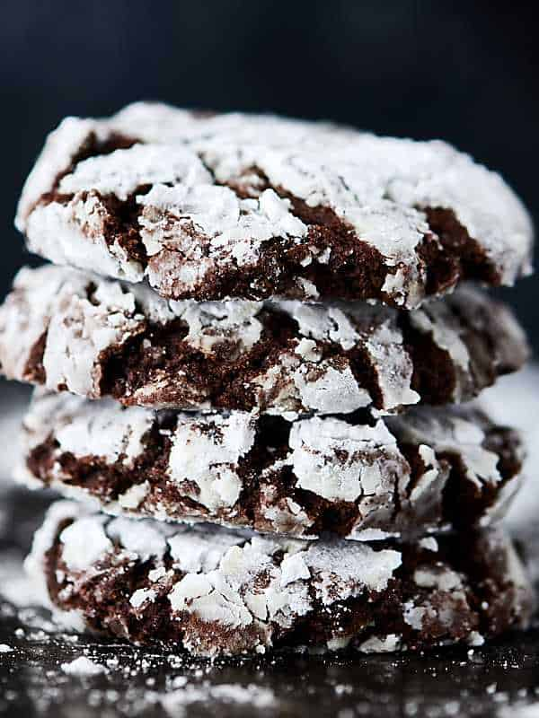 chocolate crinkle cookies recipe   powdered sugar