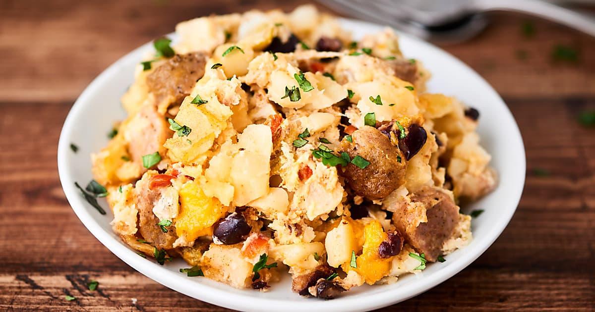 Crockpot breakfast casserole recipe egg sausage hash for Crockpot breakfast casserole recipes