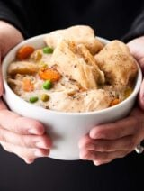Crockpot Chicken and Dumplings. Winter comfort food! Quick & easy, SO hearty and cozy! Uses refrigerated biscuit dough! No Cream of X Soup! showmetheyummy.com #crockpot #chicken #dumplings