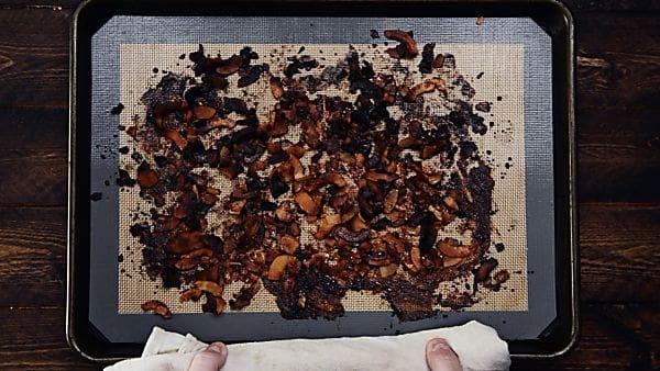 Finished coconut bacon on baking sheet