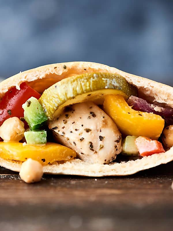 pita with greek chicken and veggies