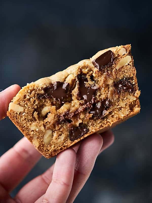 half deep dish cookie held