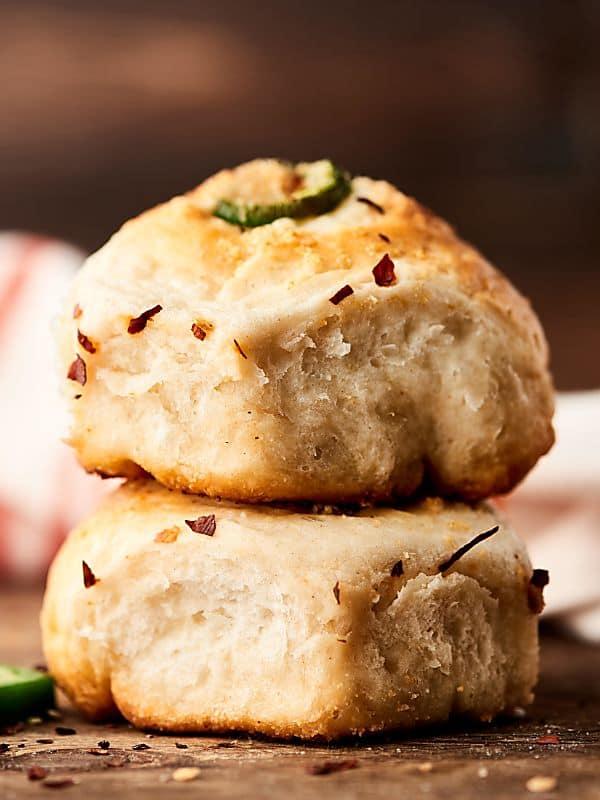 two artichoke dip stuffed rolls stacked