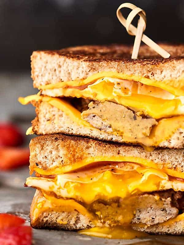 2 halves breakfast grilled cheese sandwich stacked