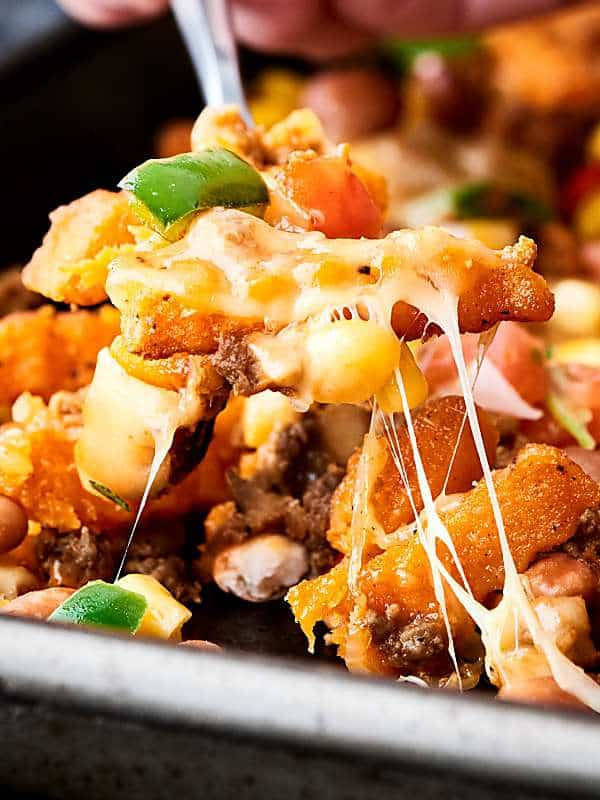 mexican sweet potato cheese fries cheese pull