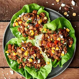 These turkey tacos are super easy, healthy, and delicious! Full of extra lean ground turkey, onion, bell peppers, and spices: chili powder, smoked paprika, cumin, garlic powder, salt, pepper! Perfect for meal prep. Less than 200 calories per serving! showmetheyummy.com #tacos #healthy